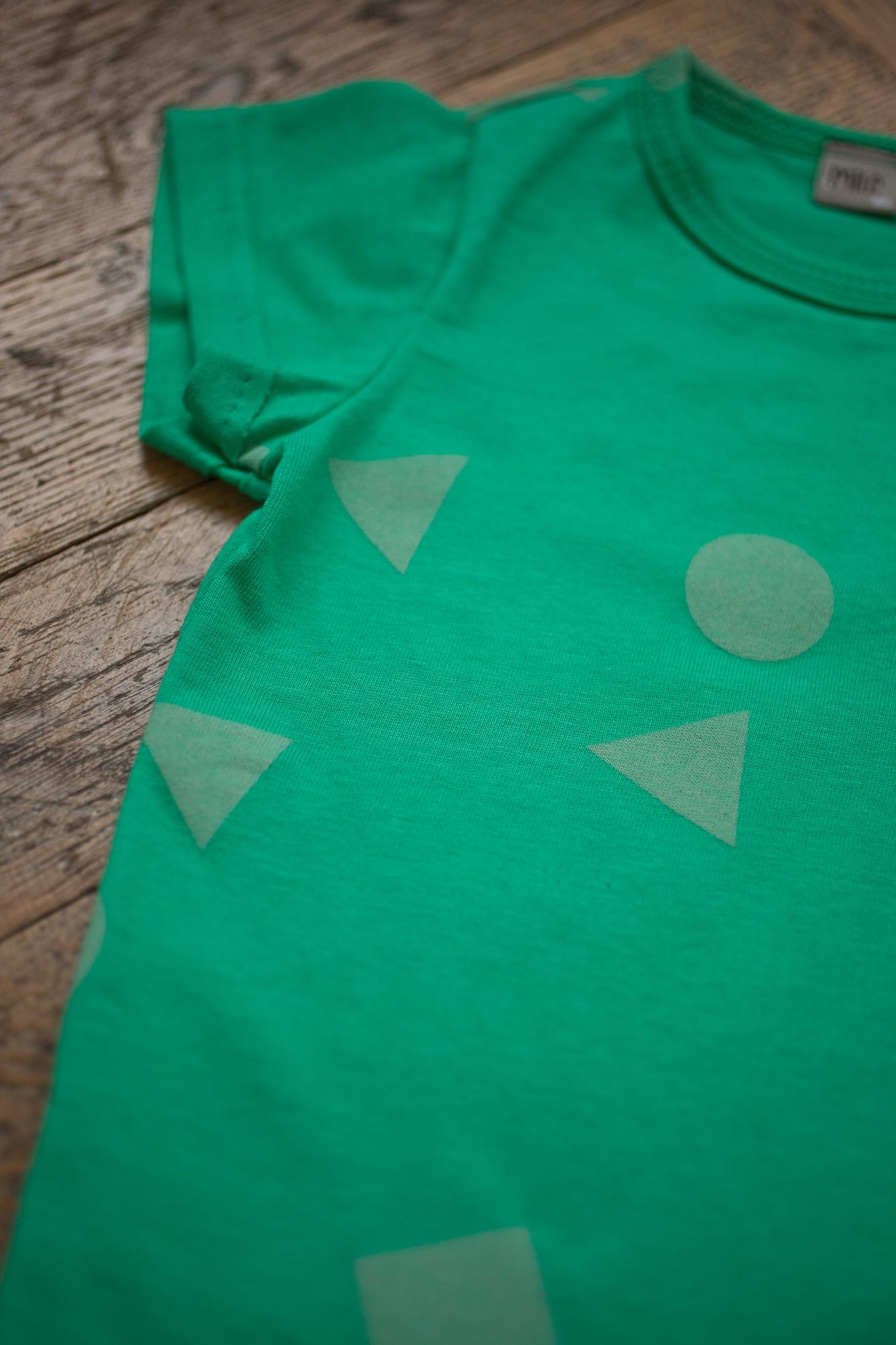 zelená geometria tričko krátky r