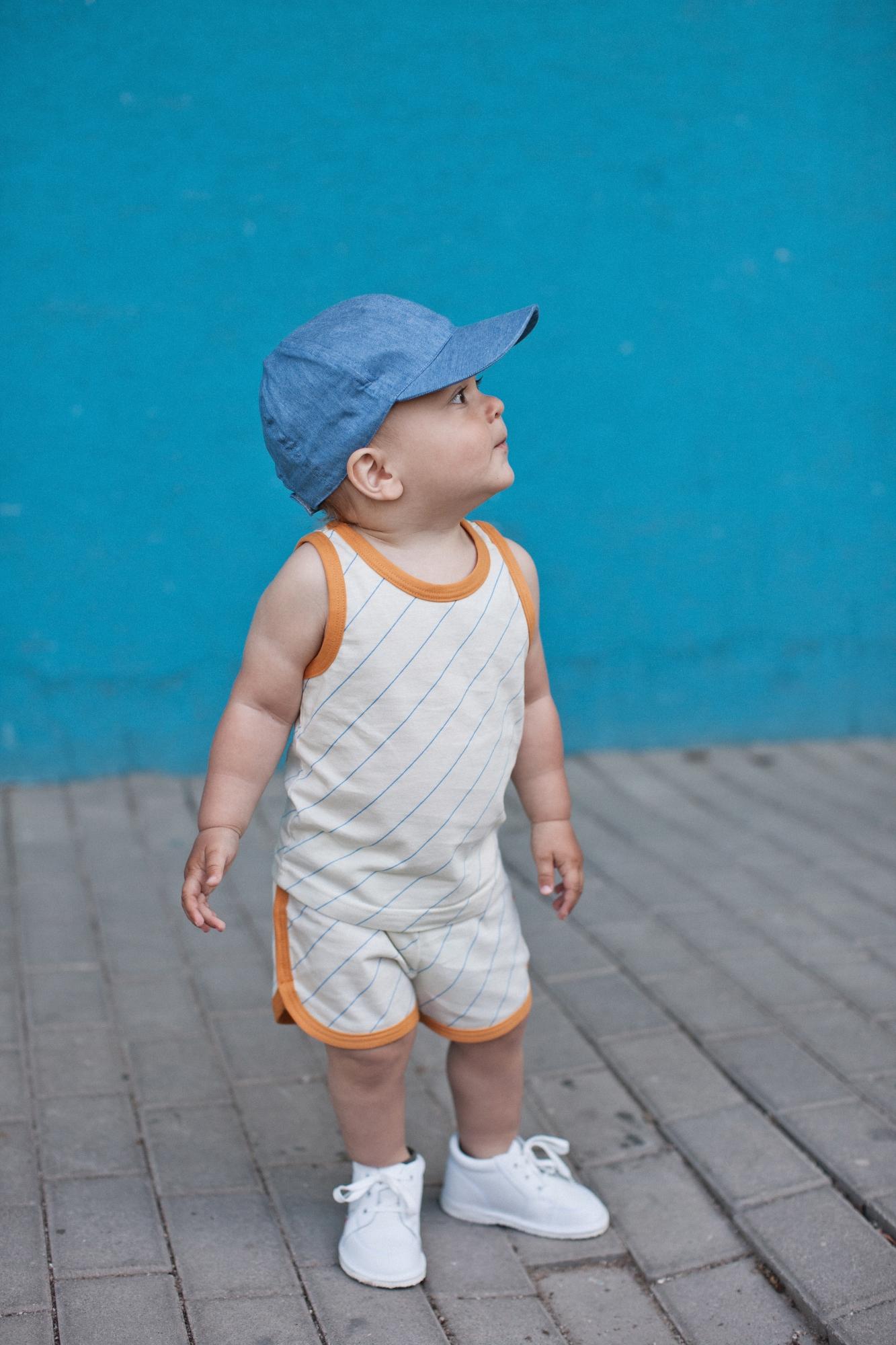 oranžový lem šortky