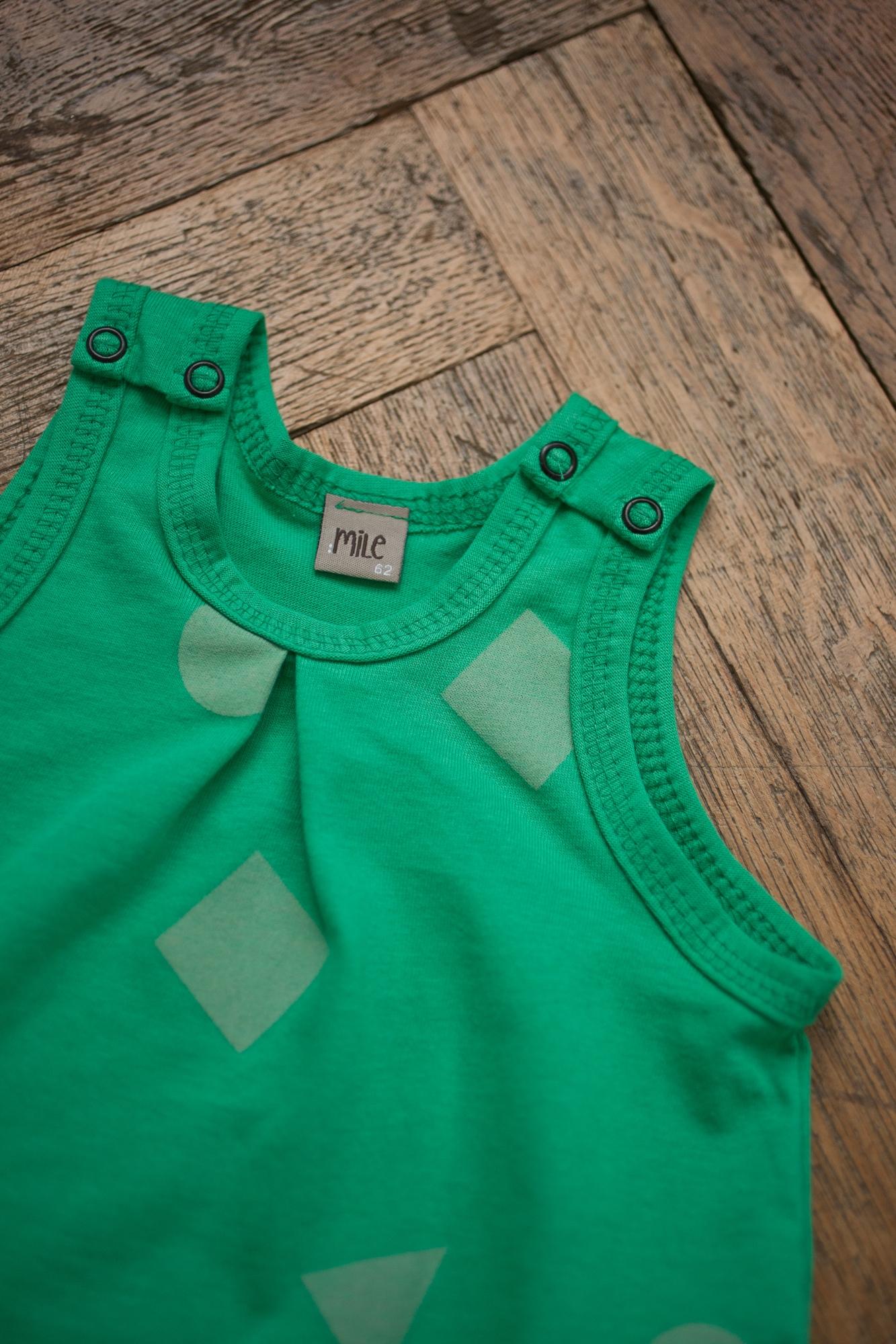 green geometry overalls